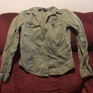 Forever 21 army green button down top